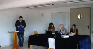 Relatori al Convegno: Aldo Caporaletti, prof.ssa Barbara Montesi,  Com.te Claudio Bruschi, prof. Ilenia Santoni